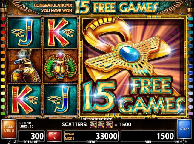 Landing three Ankh Cross scatter symbols on reels 3, 4 and 5 triggers 15 free games.