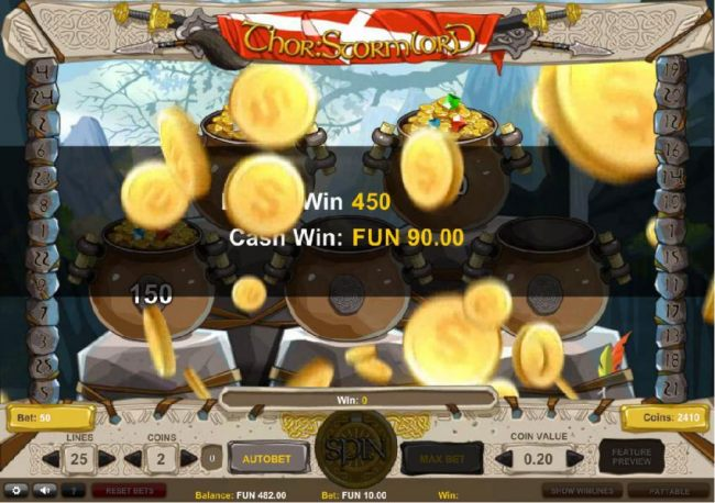 The bonus game pays out a total of 450 coins for a big win.