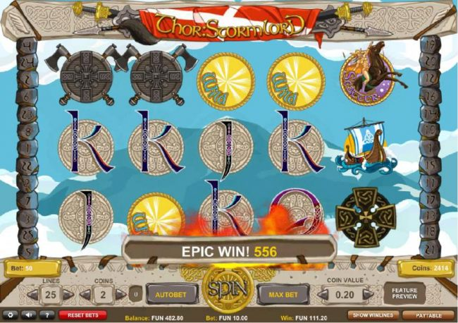 Multiple wild symbols triggers an epic win, 556 coins