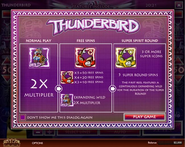 Game features a Wild 2x Multiplier, Free Spins with Expanding Wild 2x Multiplier and Super Round Spins.