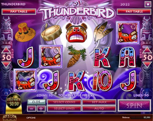 Three free spins icons anywhere on screen trigger the Free Spins feature.