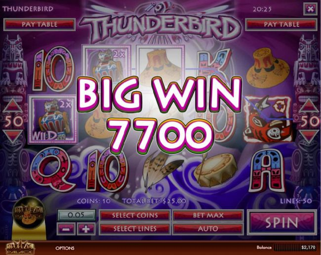 Multiple winning paylines triggers a 7,700 coin big win!