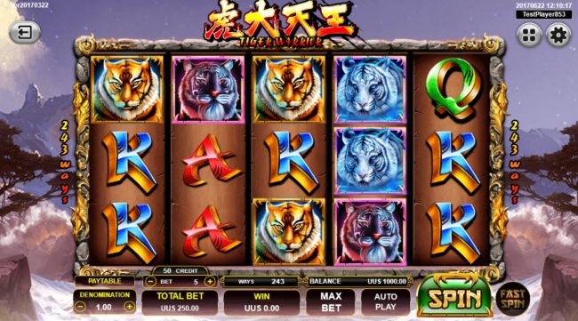 Main game board featuring five reels and 243 ways to win with a $10,000 max payout.