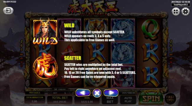 Wild substitutes for all symbols except scatter and 3 or more scatters awards up to 20 free games