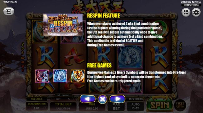 Re-Spins feature and Free Games Rules