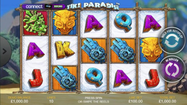 A tropical island themed main game board featuring five reels and 10 paylines with a $25,000 max payout