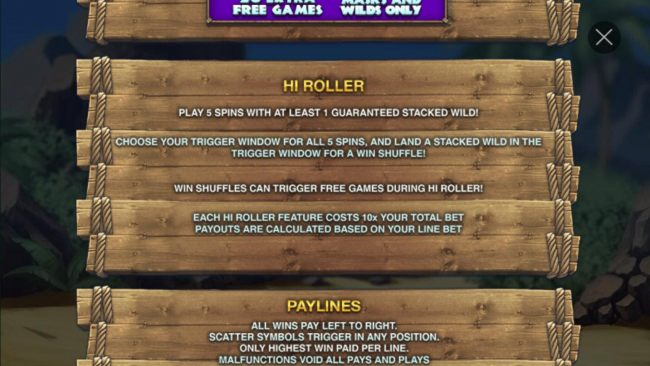 Hi Roller - Play 5 spin with at least 1 guaranteed stacked wild!