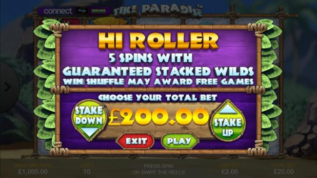 hi Roller 5 Spins with Guaranteed Stacked Wilds Win Shuffle May Award Free Games.