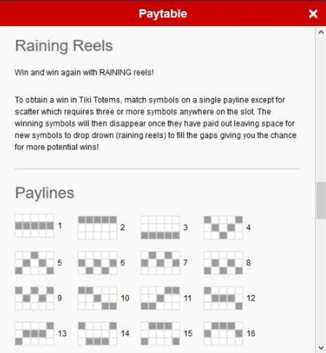 Raining Reels Rules - To obtain a win in Tiki Totem, match symbols on a single payline except for scatter which requires three or more symbols anywhere on the slot. The winning symbols will then disappear once they have paid out leaving space for new symb