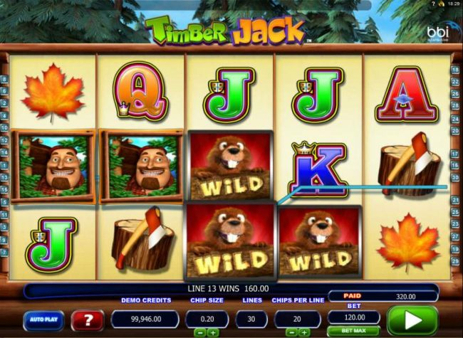 A trio of wild symbols on the 3rd and 4th reels triggers a pair of winning [aylines leading to an 320.00 jackpot!
