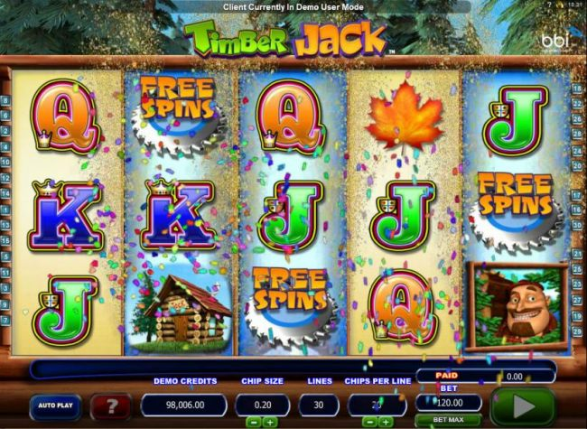 Buzzsaw Free Spins scatter symbols triggers the free spins feature.