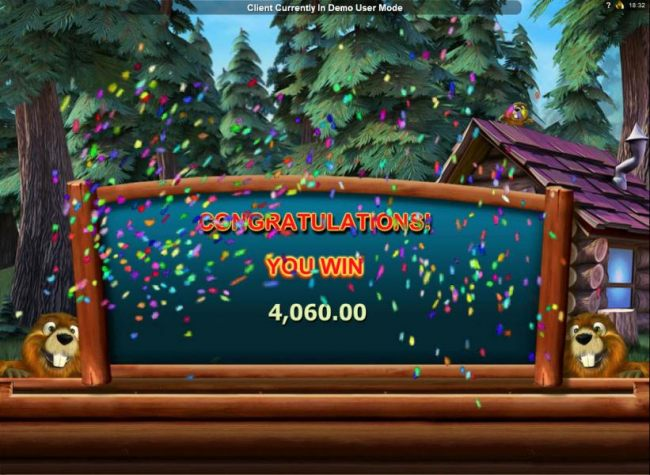 The free spins bonus feature pays out a totalof 4,060.00 for a super win!