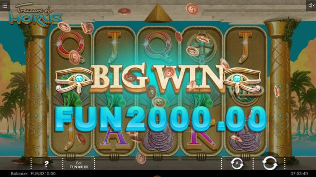 A 2000 jackpot triggered by a 5 of a kind