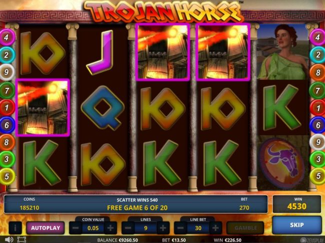Landing scatter symbols on the reels during the freee spins feature adds additional free spins.
