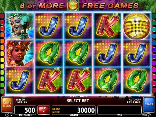 A glitzy nightclub dance themed main game board featuring five reels and 25 paylines with a $50,000 max payout