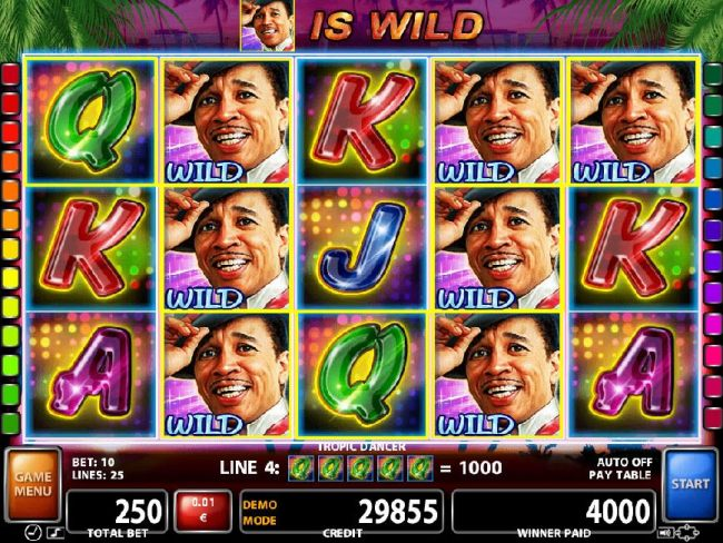 Stacked wilds on reels 2 and 4 trigger multiple winning paylines leading to a 4000 jackpot win.