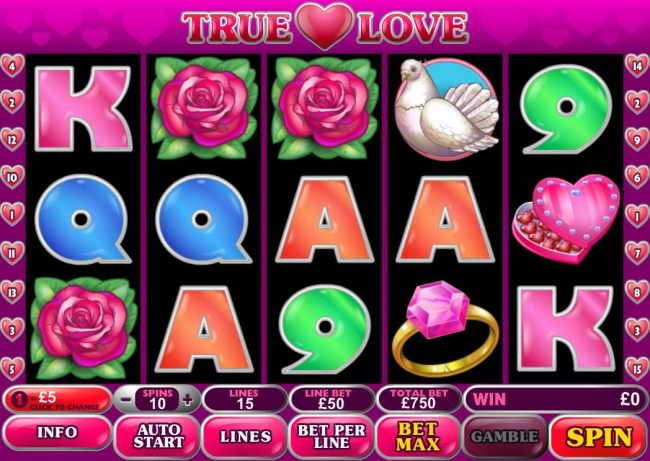 A love themed main game board featuring five reels and 15 paylines with a $500,000 max payout