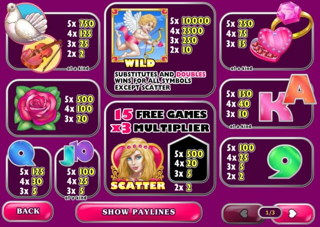 Slot game symbols paytable featuring love inspired icons.