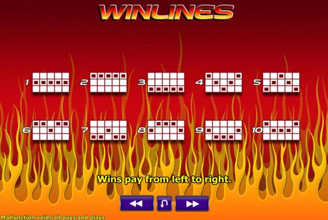 Payline Diagrams 1-10. Wins pay from left to right.