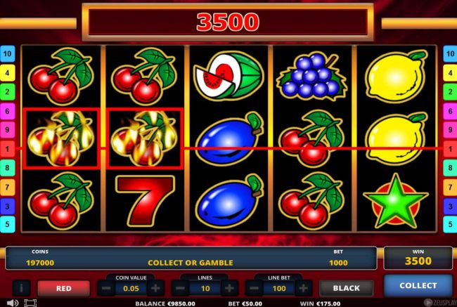 A 3500 coin jackpot triggered by multiple winning paylines.