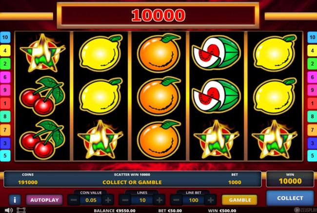 A winning combination of 4 scatter symbols triggers a 10000 coin super jackpot award.