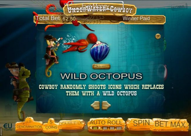 Cowboy randomly shoots icons which replaces them with a wild octopus.