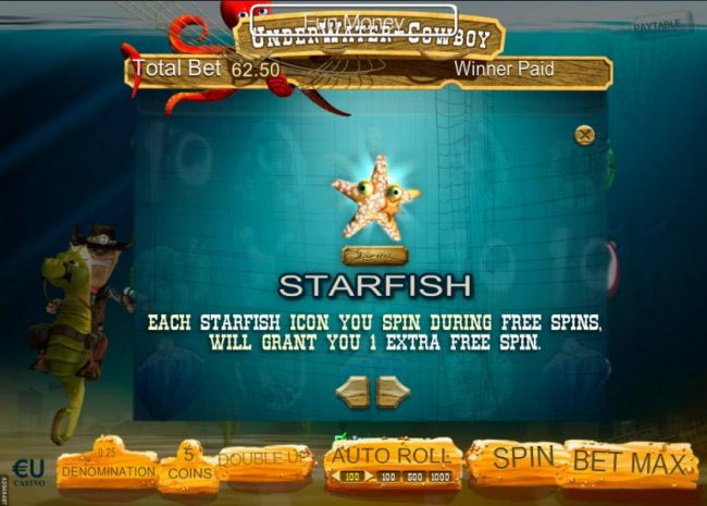 Each starfish icon you spin during free spins, will grant you 1 extra free spin.