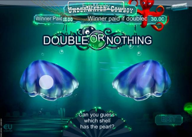 Double or Nothing feature is available after every winning spin. Choose which shell has the pearl for a chance to double your winnings.