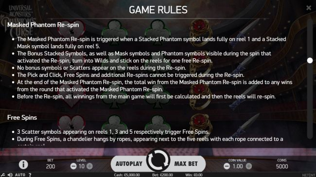 Masked Pahntom Re-Spin Rules