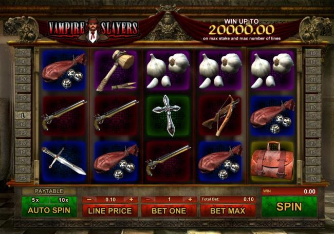 main game board featuring five reels and thirty paylines with a 5000x max payout