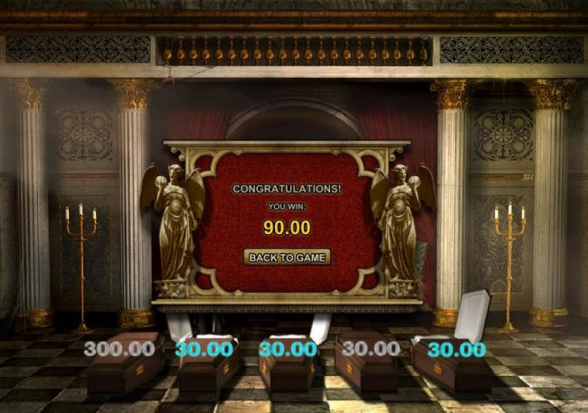 the bonus game feature triggers a $90 payout