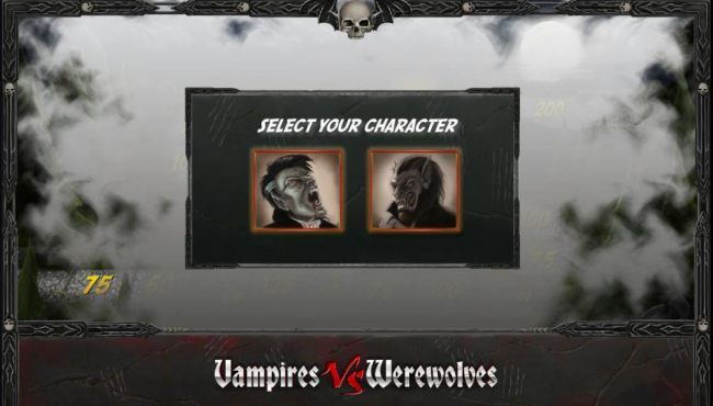 select your character, vampire or werewolfe