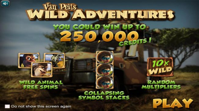Game features include: Wild Animal Free Spins, Collapsing Symbol Stacks, Random Wild Multiplier and A chance to win up to 250,000 credits