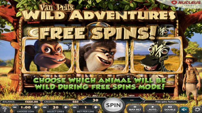 Free Spins feature triggered, choose which animal will be wild during free spins mode