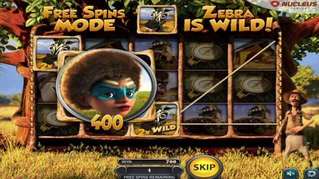A 400 coin line pay triggered during the free spins feature