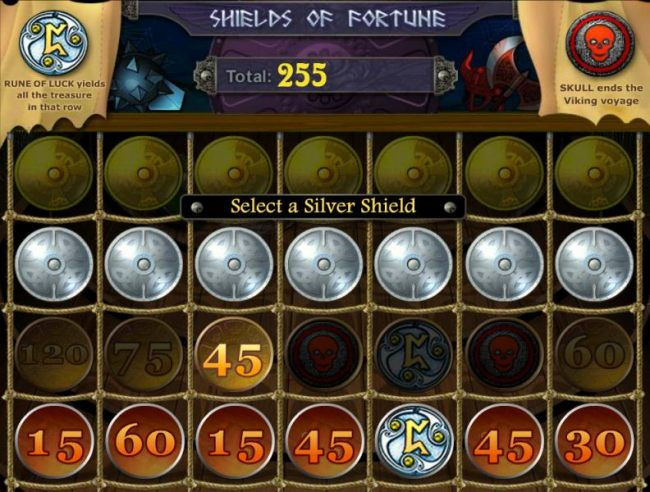 Moving up to the next row of shields reveals a 45 bonus points award.
