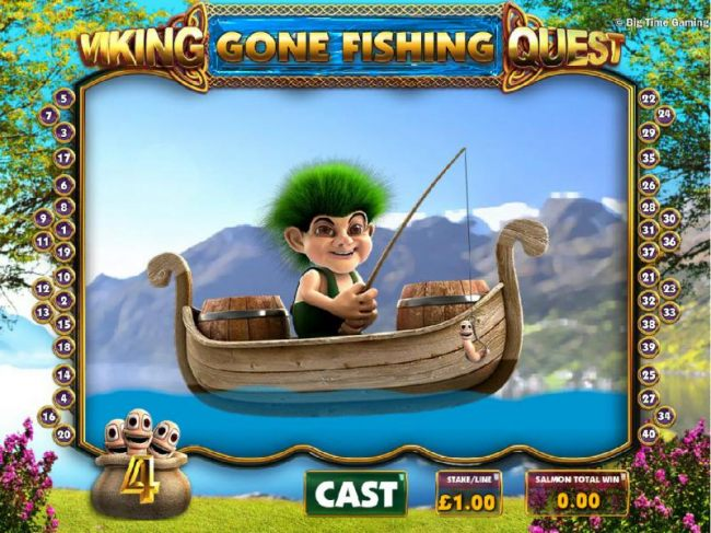 Gone Fishing game board - click cast to drop your line into the water and catch an multiplier.