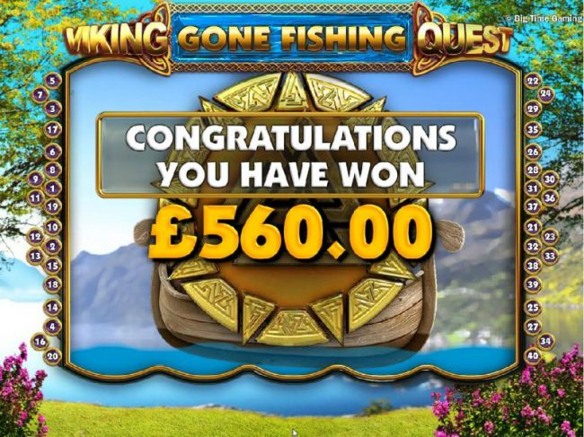 The Gone Fishing feature pays out a total of 560.00
