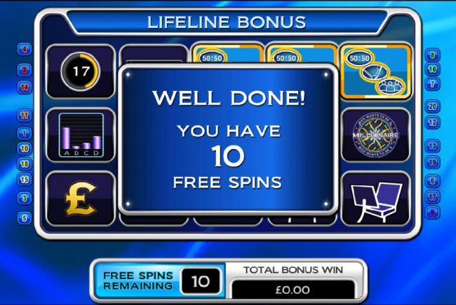 well done! you have 10 free spins