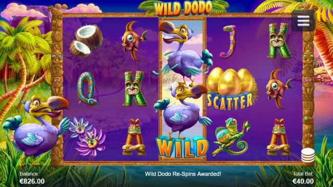 Wild Dodo Re-Spins activated when Dodo Wild symbol lands on the middle reel