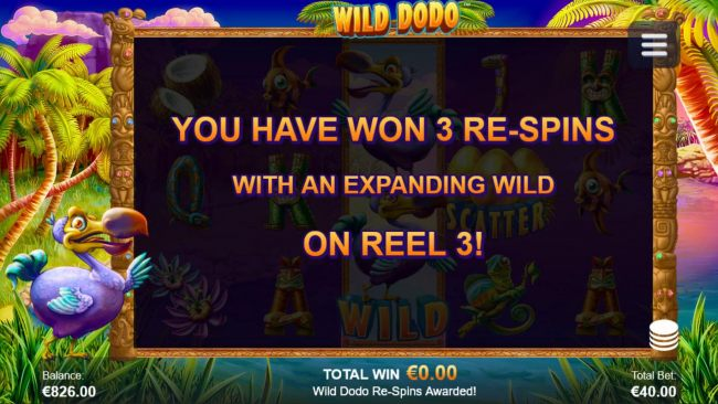 Player awarded 3 re-spins with expanding wild on reel 3