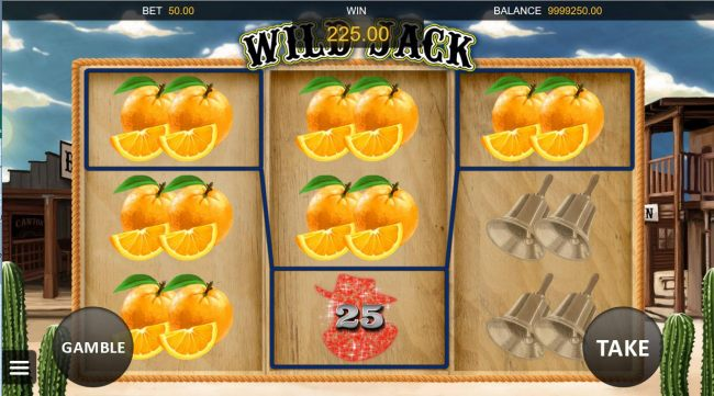 A 225.00 jackpot triggered by multiple winning oranges.