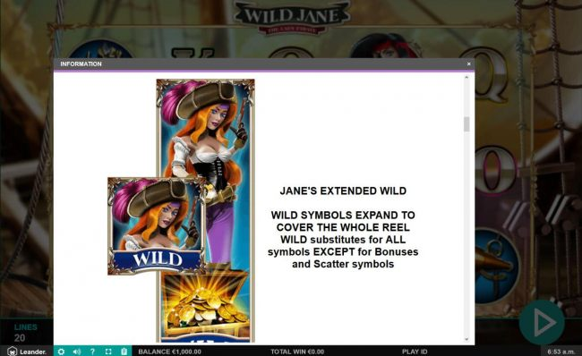 Janes Extended Wild - Wild symbols expand to cover the whole reel, wild substitutes for all symbols except bonuses and scatter symbols