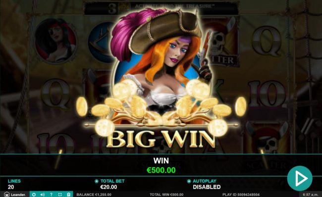 A 500.00 Big Win paid out to player.