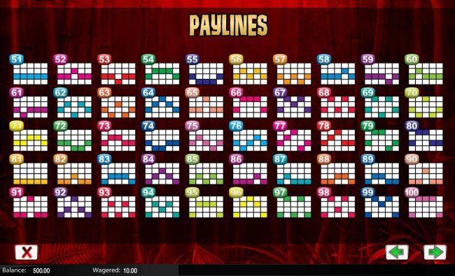 Payline Diagrams 51-100