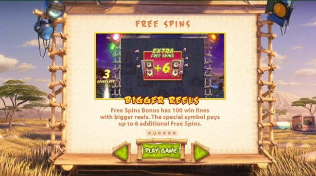 Free Spins bonus has 100 win lines with bigger reels. The special symbol pays up to 6 additional free spins.
