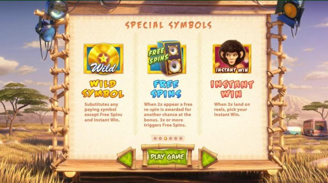 Wild, Free Spins and Instant Win symbols rules.