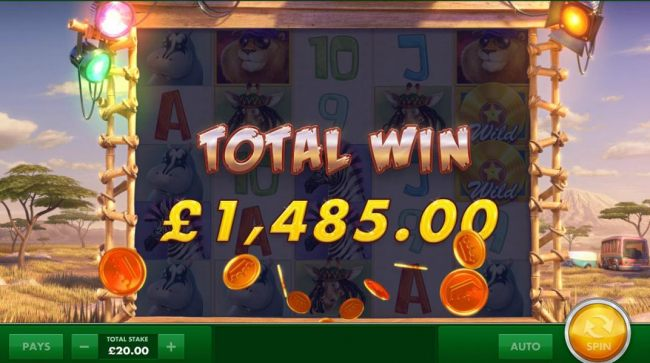 The free spins feature pays out a total of 1,485.00 for a big win!