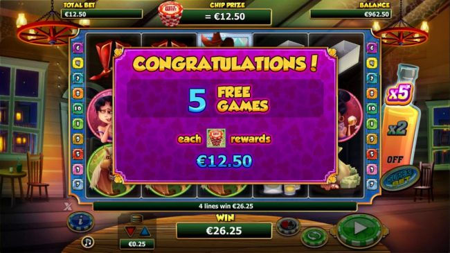 Cowboy on any reel triggers five free games and each chipstack rewards what your initiam base game bet is.