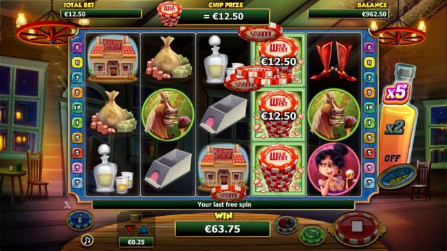 Each chipstack symbol awards a prize equal to the base game line bet during the free games feature.